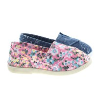ObertIIsq Pink Flower Toddler Baby Girl's Round Toe Casual Flats in Floral & Denim