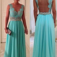 2016 Hot Sale Cheap Turquoise Evening Dresses Sheer Neck Back See Through Turquoise Blue Long Prom Dress In Stock
