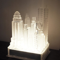 """Contemporary """"Lucite Skyscrapers"""" Table Lamp"""