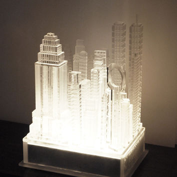 "Contemporary ""Lucite Skyscrapers"" Table Lamp"