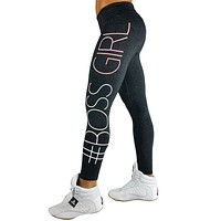 BOSS GIRL Letters Printed Pants Skinny Leggings Women Fashion Comfortable Sweatpants Activewear Long Pant Trousers