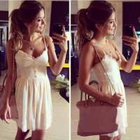 Spaghetti Strap Hollow Out Lace Sleeveless One Piece Dress [6403370180]