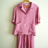 1980s Vintage 2 Pc Baby Doll Romper Set Top and Shorts Red and White Gingham Check