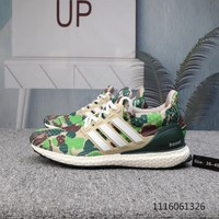 DCCK2 A814 Bape x adidas Ultra BOOST 4.0 Breathable Running Shoes White Camouflage