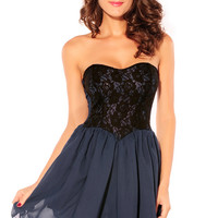 Black Sweetheart Lace Overlay Dress