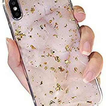 UnnFiko Marble Glitter Phone Case Compatible with iPhone X/iPhone Xs, Gold Foil Bling Luxury Case, Soft TPU Protective Case Covers for Women Men (White, iPhone X/Xs)