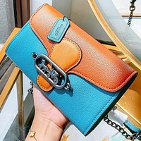 COACH New fashion pattern print leather chain shoulder bag crossbody bag handbag
