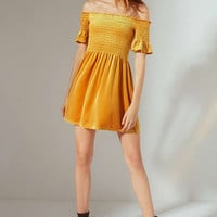 UO Clara Off-The-Shoulder Smocked Velvet Dress | Urban Outfitters