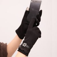 2015 Outdoor Women Ladies Winter Warm Vintage Lace Touch Screen Gloves = 1958041476