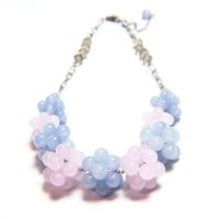 Glass Bead Crystal Chain Necklace