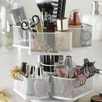 Nifty Cosmetic Organizing Carousel, White