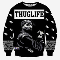 Thug Life Crew Neck Sweatshirt Black 2pac Sweater