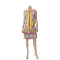 Vintage 50s 60s Rainbow Scooter Dress 1950s 1960s Mod Carnaby Street Style MCM Summer Party Pleated Day Dress Boho Dress /