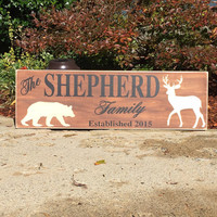 Personalized, Family Established Sign, Wedding Sign, Hunting Family, Hunter, Hunter Wedding, Simply Fontastic, Wooden Sign