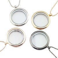Floating Charm Living Memory Glass Round Locket Charms Pendant Necklace