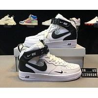 NIKE AIR FORCE 1 Tide brand men and women models high to help casual wild sports shoes White