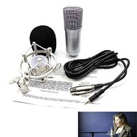 LEAGY L-57 Condenser Sound Recording Microphone + Mic Shock Mount, Ideal for Radio Broadcasting Studio, Voice-over Sound Studio, Recording and so on - Silver