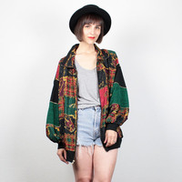 Vintage 80s Bomber Jacket 1980s Windbreaker Jacket Black Red Green Gold Plaid Baroque Print Track Jacket Sporty Wind Breaker XL Extra Large