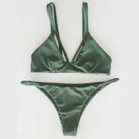 V-Neck Solid Color Bikini Swimsuit Swimwear