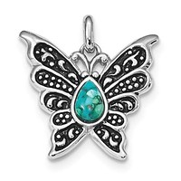 Sterling Silver Oxidized Recon. Turquoise Butterfly 25mm Pendant
