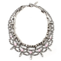 Let Them Eat Cake Crystal & Spike Necklace - Silver/Rose