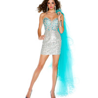 Mac Duggal Prom 2013- Silver And Aqua Cocktail Dress With Detachable Train - Unique Vintage - Prom dresses, retro dresses, retro swimsuits.
