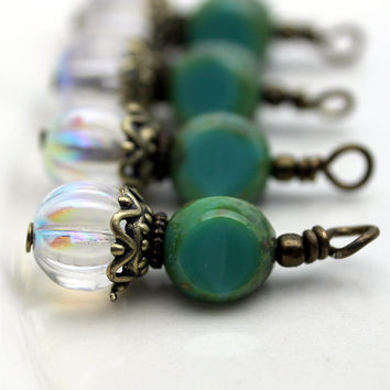 Vintage Style Czech Clear AB Melon and Czech Turquoise 3 Sided Bead Dangle Charm Drop Set