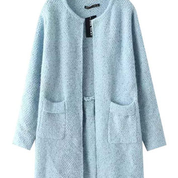 Long Sleeves Open Front  Woolen Coat With Dual Pockets