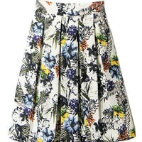 White Floral Print Pleated Skirt