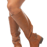 Chestnut Faux Leather Knee High Horse Riding Boots