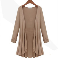 Solid Color Long Cardigan