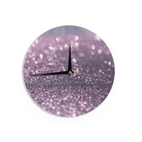 "Debbra Obertanec ""Lavender Sparkle"" Purple Glitter Wall Clock"