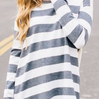 Grey-White Striped Print Round Neck Casual T-Shirt