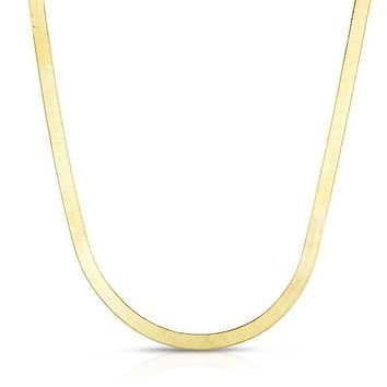 Gold Vermeil Herringbone Necklace 5mm - Made in Italy