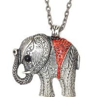 Elephant Necklace Ruby Red Crystal Animal Ethnic Silver Tone Tribal Vintage Charm Pendant