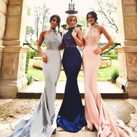 Newest Style Satin Lace Beaded Mermaid Prom Dresses 2016 Halter Long Prom Gowns Sexy vestidos de festa
