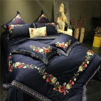 Cool Queen King size Noble Luxury Egyptian cotton Silky Bedding set Chinese Embroidery Floral Duvet cover Bedsheet set PillowcaseAT_93_12