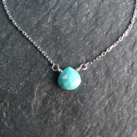 Robins Egg Blue Arizona Turquoise Layering Necklace - Sterling Silver - Dainty Tiny Chain - Pendant Necklace - Modern Romance