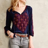 Astrograph Peasant Blouse by San & Soni Navy