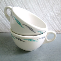 Homer Laughlin Feather Cups Turquoise and Gray Mid Century Coffee Tea