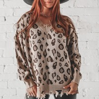 You A Fool For This One Distressed Brown Leopard Sweater