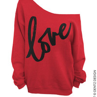 LOVE - Valentine's Day - Red with Black - Slouchy Oversized Sweatshirt