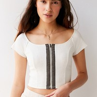 UO Hashtag Zip Cropped Top | Urban Outfitters