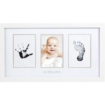 Pearhead Babyprints Newborn Baby Handprint and Footprint Photo Frame Kit with an Included Clean-Touch Ink Pad to Create Baby's Prints, A Perfect Baby Shower Gift White My Little Prints Frame and Ink Kit