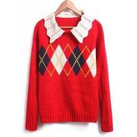 Fluted Lapel Collar Rhomb Design Long Sleeves Cotton Knitted Free Size Loose Red Sweater @MFF35r
