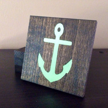Anchor Wood Coasters, Custom Anchor Coasters, Set of 4, Stained and Hand Painted, Anchor decor, Nautical decor, beach decor