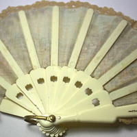Vintage Victorian themed Painted Fabric Hand Fan