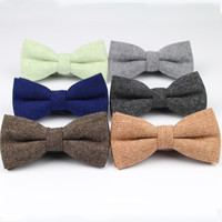 Mens Formal Wear Thick Business Bowtie Butterfly Men Dick Solid Color Wool Cravat Unisex England Style Bow Tie