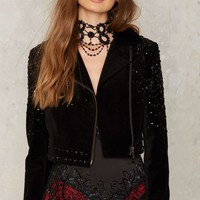 Nasty Gal Collection Lose Control Velvet Moto Jacket