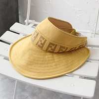 FENDI Summer Popular Women Sun Hat Outdoor Cap Hat Yellow